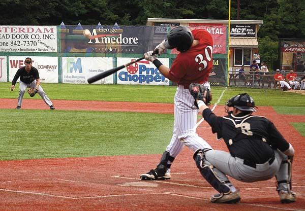 Amsterdam's Anthony Gonnella (30) drives the ball against the Saugerties Stallions during Perfect Game Collegiate Baseball League game last summer at Shuttleworth Park. State Senator George Amedore recently announced that Shuttleworth Park will receive a $200,000 grant for improvements. (The Leader-Herald/James A. Ellis)