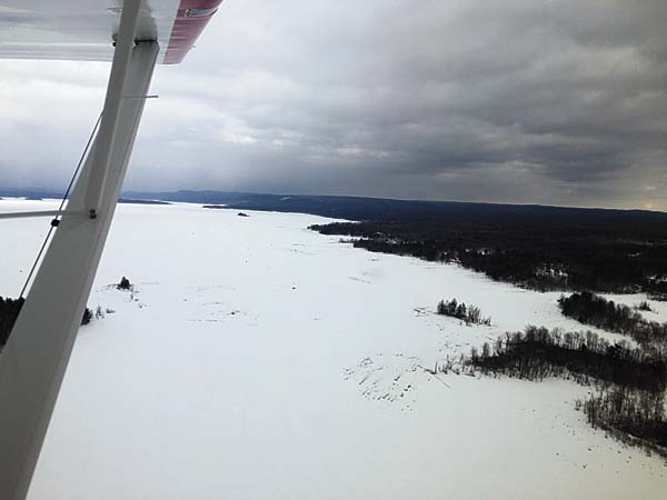 Pilot Mark Keneston recently flew his plane to the area to visit his camp near the Great Sacandaga Lake. Pictured above a look from above at the frozen lake. (Photo submitted by Mark Keneston)