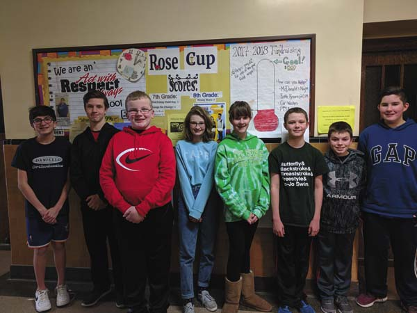 Knox Junior High School's second-quarter Students of the Week winners are shown, from left, eighth-graders Luke Solby, Mickey Winton, Dylan Barter and Abigail Brownell and eighth-graders  Emily Blood, DJ Long, Garrett Bobowski and Ethan Blood. Missing from photo is Zoe Bailey. They were chosen for exhibiting traits such as caring, helpfulness, persistence during adversity, being hardworking, good manners and respect. (Photo submitted)