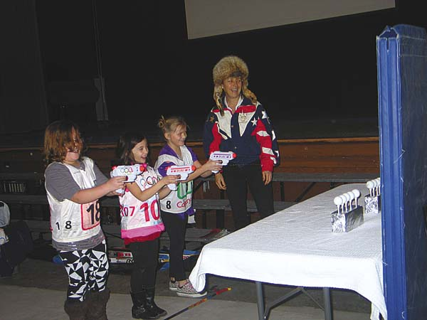 Northville students compete in biathlon game with Olympian Deb Nordyke, left, on Friday. (The Leader-Herald/Briana O'Hara)