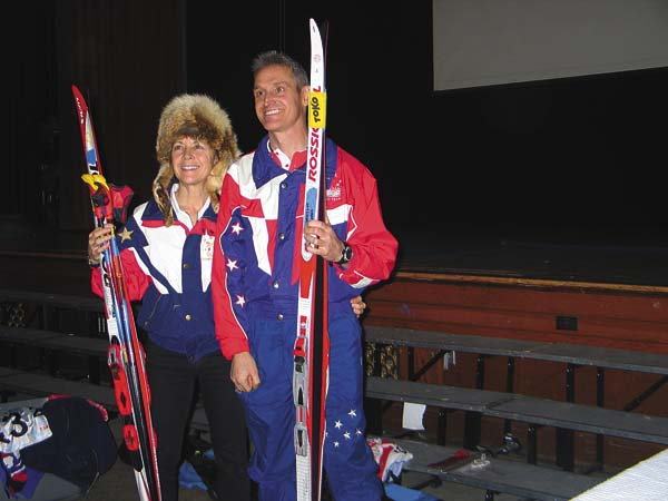 Biathlon Olympians Deb Nordyke, left, and Curt Schreiner, right, pose for photo after giving a presentation on the Olympics at Northville Central School District on Friday. (The Leader-Herald/Briana O'Hara)