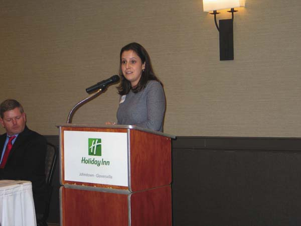 Congresswoman Elise Stefanik speaks at the Lincoln Day Dinner at the Holiday Inn on Monday. (The Leader-Herald/Briana O'Hara)