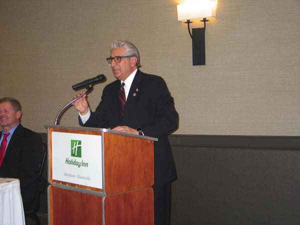 Senator James Tedisco speaks at the Lincoln Day Dinner on Monday at the Holiday Inn. (The Leader-Herald/Briana O'Hara)