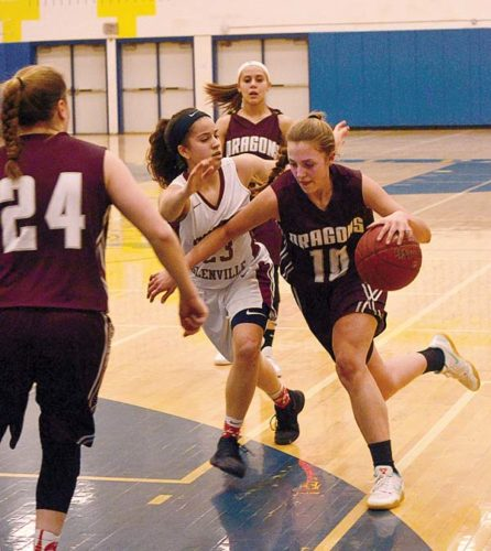 Gloversville's Alex Benfatti (24) and Gabby Langley look on as Harmony Philo (10) drives past Scotia-Glenville's Asia Winney during a Section II Class A quarterfinal game Thursday at Averill Park High School. (The Leader-Herald/James A. Ellis)