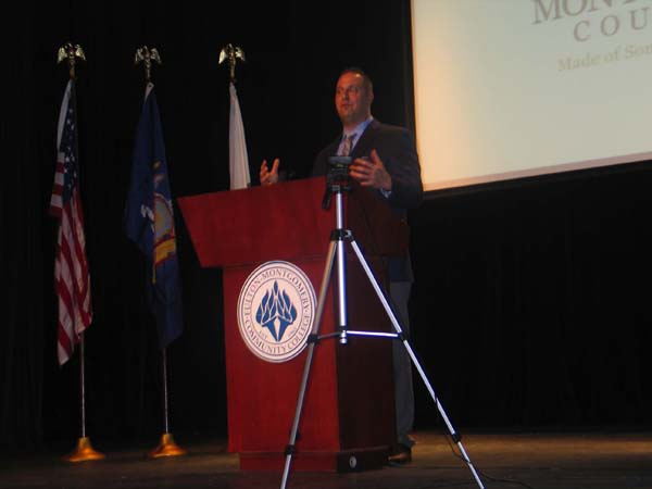 Montgomery County Executive Matt Ossenfort gives his State of the County Address Thursday at Fulton-Montgomery Community College. (The Leader-Herald/Briana O'Hara)