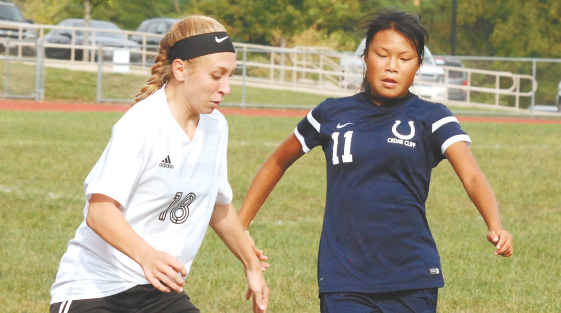 Sentinel file photo Mifflin County's Jessica Bickhart (18) was one of six soccer players chosen for the Mid-Penn all-stars. Bickhart was the only first team selection. Both the boys' and girls' teams had three all-stars.