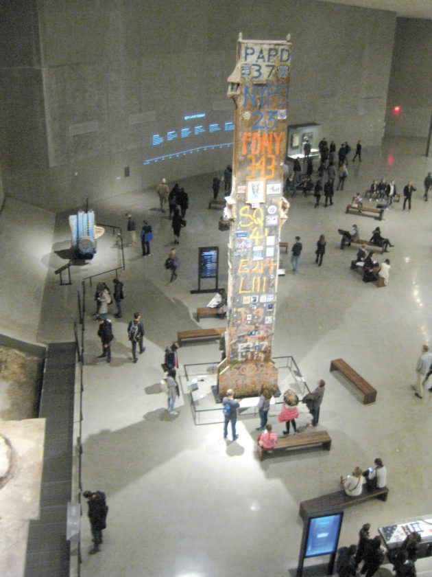 Sentinel photo by BRADLEY KREITZER The final steel beam, known as The Last Column, which was ceremonially removed from Ground Zero marking the formal end of a nine-month recovery effort, rests in Foundation Hall at the 9/11 Memorial Museum.