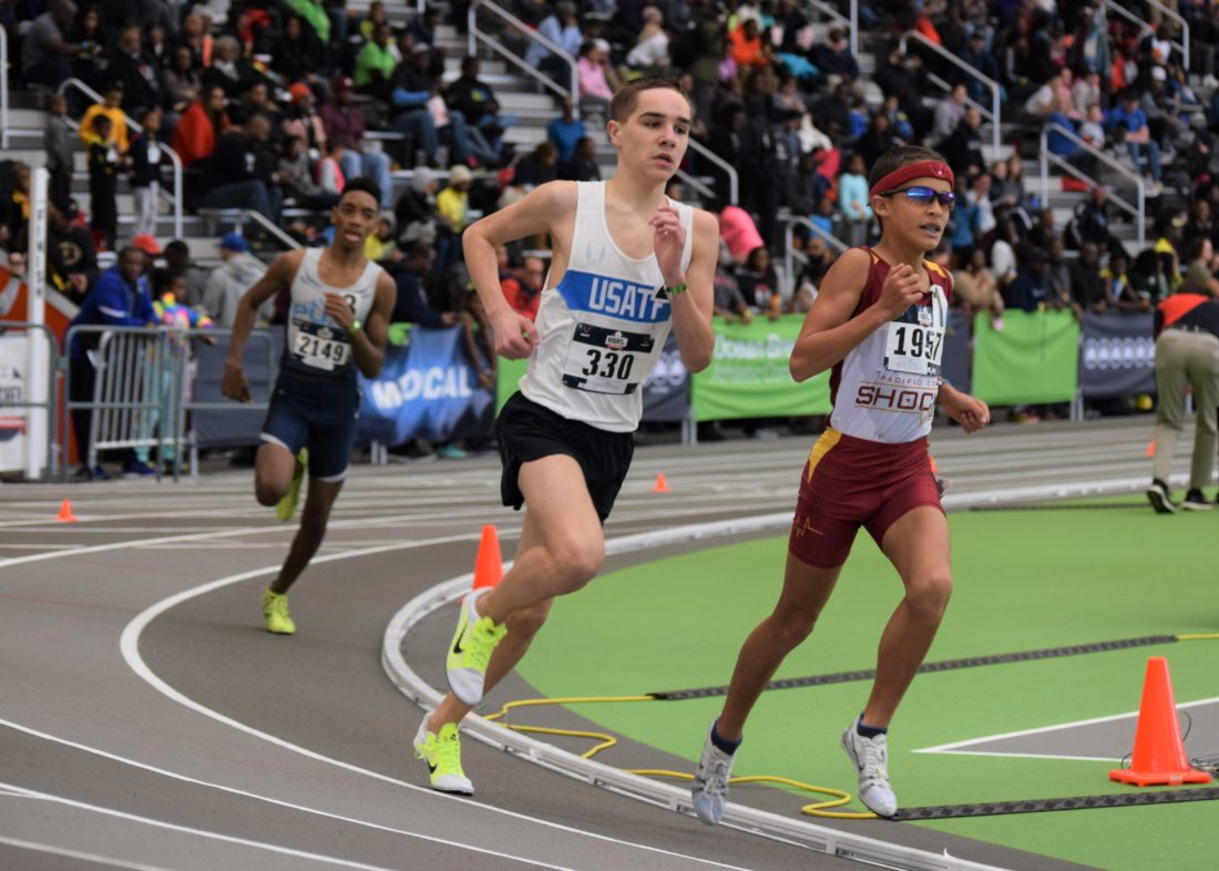 Photo submitted by RON SPRECHER Brayden Harris of the Juniata Valley Striders had a record run in the Hershey USA Track and Field Youth Indoor Championship, run March 10-12 in New York. In the 13-14-year-old boys 1,500-meter run his time of 4:18.26 was a meet record, cutting a second off the previous mark recorded in 2012. He also finished second in the 3,000-meter run with a time of 9:29.23. He was up against runners from around the country, many of whom are able to practice in more favorable climates. Harris, who is coached by Jeff Miller, will be a freshman at Mifflin County High School in the fall.