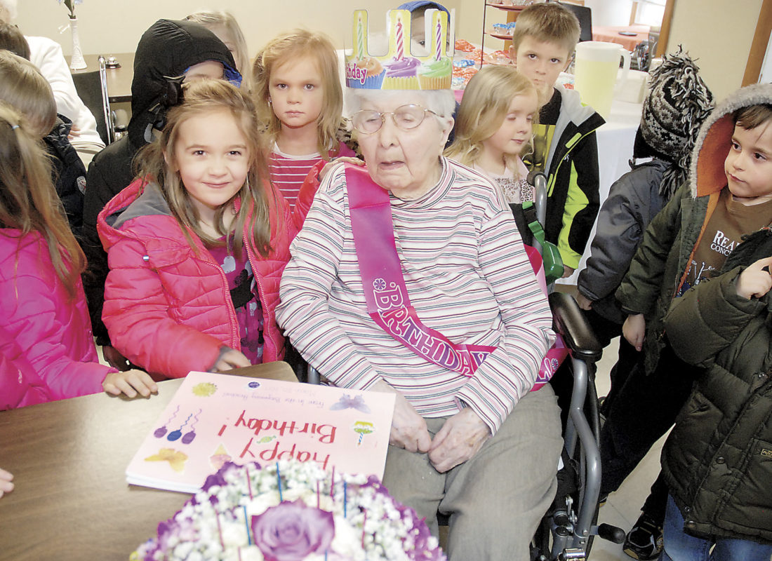 Sentinel photo by BUFFIE BOYER  Ida 'Pauline' Snyder, center, of Richfield, turned 105-years-old on Sunday and the children from In the Beginning Preschool in Richfield visited her on Monday to sing and wish her a happy birthday. Joining Snyder is her great-great-niece Ella Snyder, left. Snyder, who is now a resident at Richfield Senior Living and Rehabilitation Center, lived independently in her own home until December 2016. She was married to the late Donald Snyder, whom she shared 65 years of marriage. They have three sons, George, Ed and the late Roger. Snyder has nine grandchildren and 13 great-grandchildren. She was a school teacher in Juniata County.