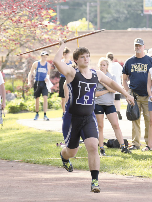 Sentinel photo by TAMI KNOPSNYDER  Mifflin County's Cade Shoemaker attempts a javelin throw at the Distrct 6 Class 3A track and field championships Thursday in Altoona. Shoemaker won the event on the boys side.
