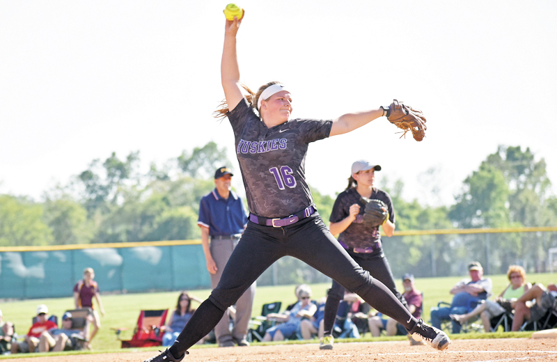 Sentinel photo by LINDSEY SMITH  Mifflin County's Hanna Kanagy winds up to throw a pitch during the Mid Penn Conference championship game against Greencastl-Antrim on Thursday, May 18, 2017 in Newville, PA. The Huskies won 7-2 for their first conference title in program history.