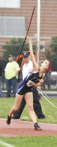 Sentinel photo by JEFFFISHBEIN  Skylar Ciccolini earned Mifflin County's lone medal, grabbing silver in the javelin in the PIAAClass 3A track and field championships Saturday at Shippensburg's Seth Grove Stadium.