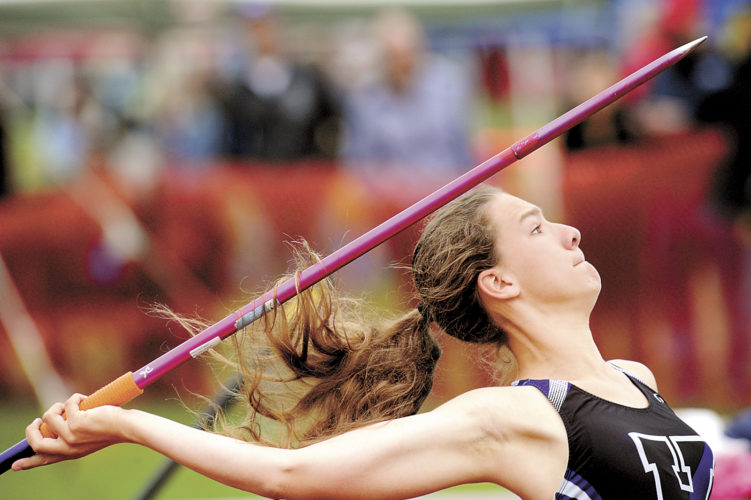 Sentinel photo by JIMMY MAY Mifflin County's Skylar Ciccolini had the best day among the local contingent at state track Saturday, finishing with the silver medal in the javelin. The Juniata Valley produced two other medalists as well. Coverage begins on Page B1.