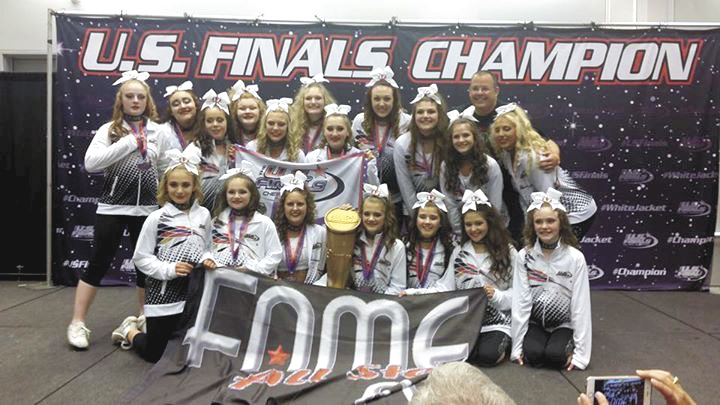 Submitted photo The FAMEcheerleading team earned a bid this season and traveled to Virginia Beach, Va. on May 7, where they won their division 4.2 to become 2017 U.S. Finals champions. Team members are, from left, front, Jaden Donahue, Maddie Dreibelbis, Baylan Prater,  Destiny Evener, Natalie Bachman, Lilly Brown and Lizzy Bingman; second row, Gracie Sherman, Aspen Henschel, Miranda Fawver, Grace Keim, Leda Hostetler, Meagan Earnest and Olivia Himes; third row, Mariah Walker, Saige Wagner, Brooke Wagner, Taylor Vaughn and head coach Skip Headings. Missing from photo, assistant coaches Ayla Poticher, Hyacinthe Keim and Josh Weidner.