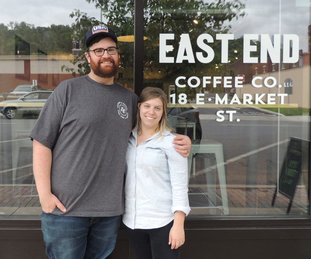 Sentinel photo by TINA LOCURTO  Owners Ryan Cherry, left, and Lillah Cherry stand in front of East End Coffee Co.  Monday afternoon in downtown Lewistown.