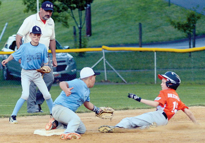 Sentinel photo by FRANKDIMON  Snyder County shortstop Julian Krainak, right, prepares to put the tag on Juniata County's Owen Dressler during the second inning at Milton's Mary F. Byers Memorial Complex Monday night. Dressler was out on the play but Juniata pulled out a 6-5 victory after a 48-minute rain delay.