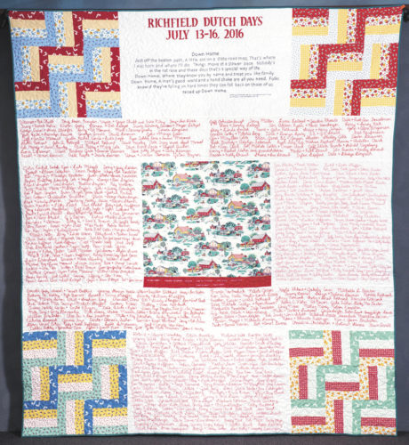 Submitted photo The theme of the 2016 Richfield Dutch Days Name Quilt, to be auctioned on July 15, is 'Down Home.'