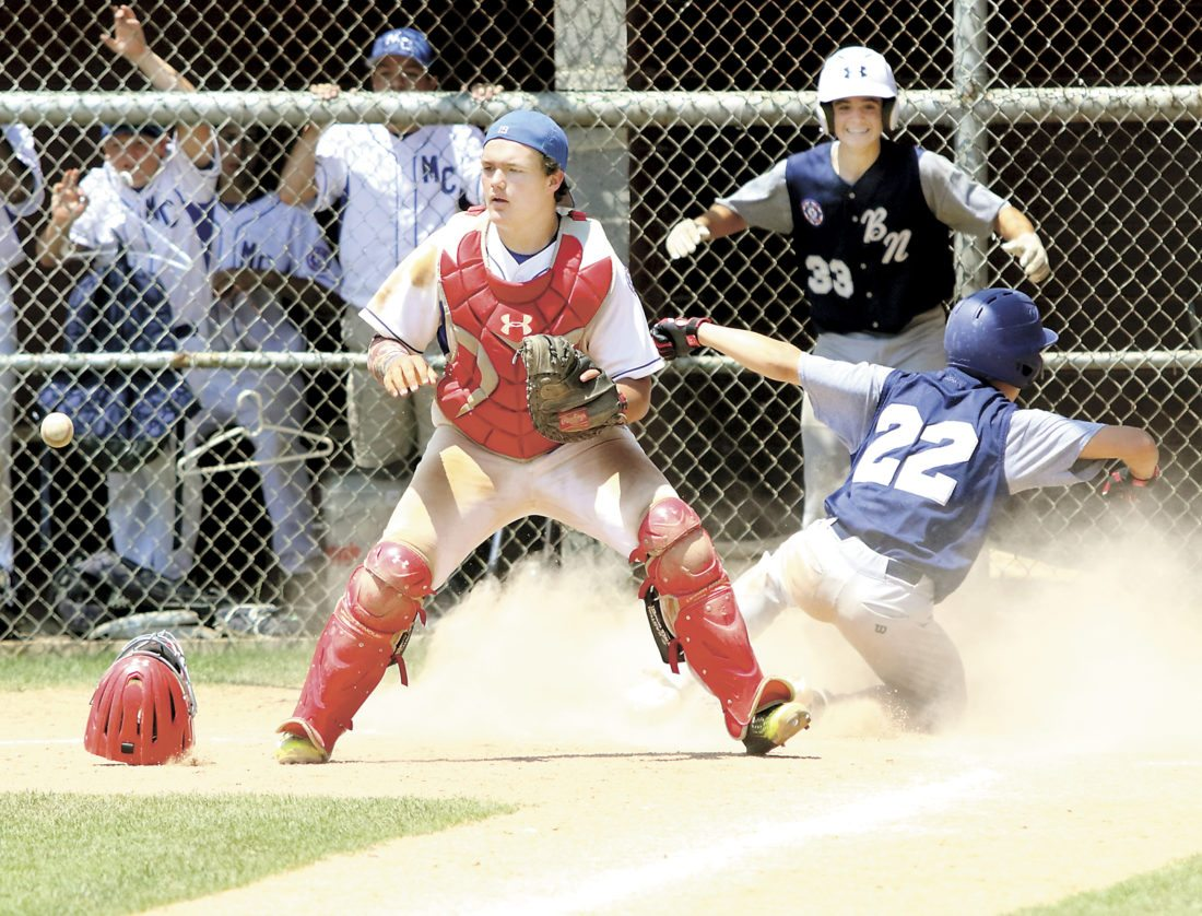 Sentinel photo by MATT STRICKER Mifflin County catcher Braden Swineford looks for the relay home as Broomall/Newtown's Joe McGinnis scores the tying run in the top of the seventh inning Sunday in Altoona.