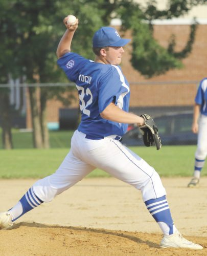 Sentinel file photo  15-year-old Holden Yocum delivers a pitch in Mifflin County's Babe Ruth state tournament game against  Franklin Township, Tuesday, July 18 in Belleville.