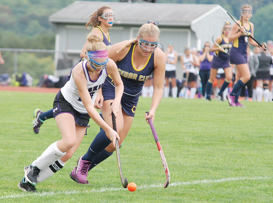 Sentinel photo by BRADLEY KREITZER  Mifflin County's Emily Shilling (18) knocks the ball away from the stick of Cedar Cliff's Catherine Zvorslay Wednesday evening in Lewistown. Mifflin County won, 2-0.