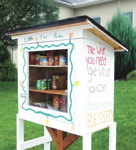 Sentinel photo by BUFFIE BOYER A blessing box now stands on the front lawn at McVeytown United Methodist Church. The public is invited to help stock the box with non-perishable food and goods. The box is open 24/7 for anyone in need.
