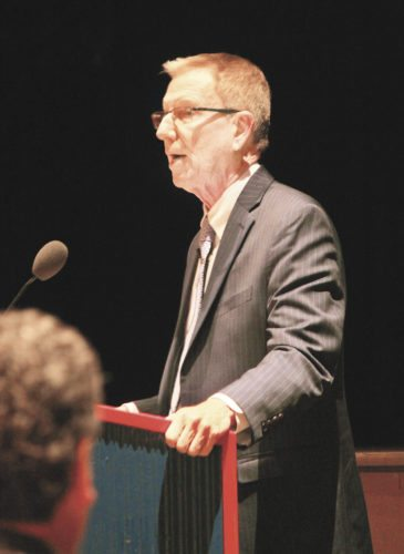 Sentinel photo by JULIANNE CAHILL Dr. David Volkman, executive deputy secretary of education, addresses Juniata County School District staff during a professional development day, held Wednesday at Juniata High School.