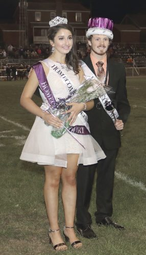 Sentinel photo by MATT STRICKER Amber Schifano, left, and Jackson Robinette are crowned Mifflin County High School's 2017 homecoming queen and king at halftime of the Mifflin County football game against West Perry Friday in Lewistown.
