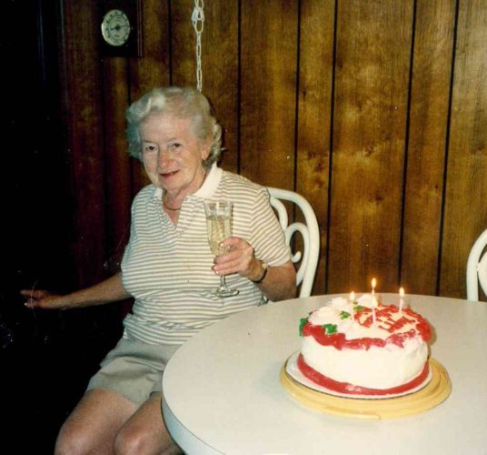 Enjoying her 77th birthday, Myrtle Beach, South Carolina, 1990