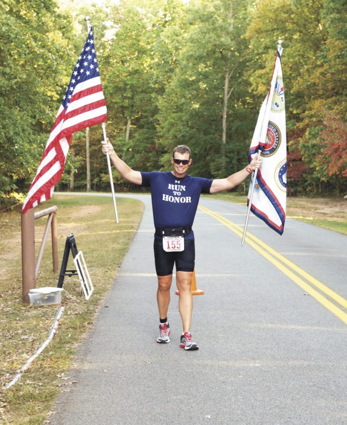 Submitted photo With cancer in remission, Michael Kline, of Milroy, successfully completes a marathon.