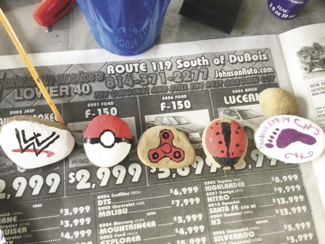 Photos courtesy of Mifflin County Rocks Take a look around for the painted rocks on this page. They, and others like them, are painted by local people and hidden in Mifflin and Juniata counties for you to find and enjoy.