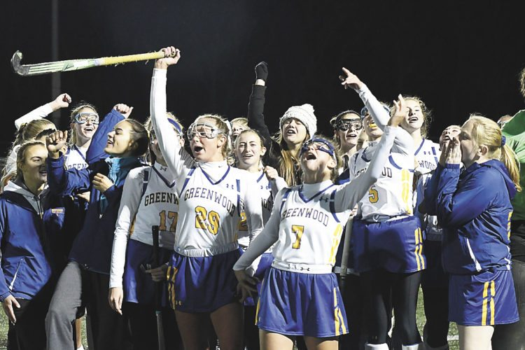 Sentinel file photo  Members of the Greenwood field hockey team celebrate after a win over Newport Tuesday at West Perry. Greenwood will play Wyoming Seminary in the Class A state championship game Saturday.