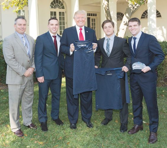 White House photo Former members of Penn State's wrestling team met with President Donald Trump on Friday as the White House hosted a college sports champions day. This year's Nittany Lions were unable to attend because of their Friday evening match at Binghamton. With the president are, from left, associate athletic director for finance Rick Kaluza, Geno Morelli, Trump, Jimmy Gulibon and Kade Moss.