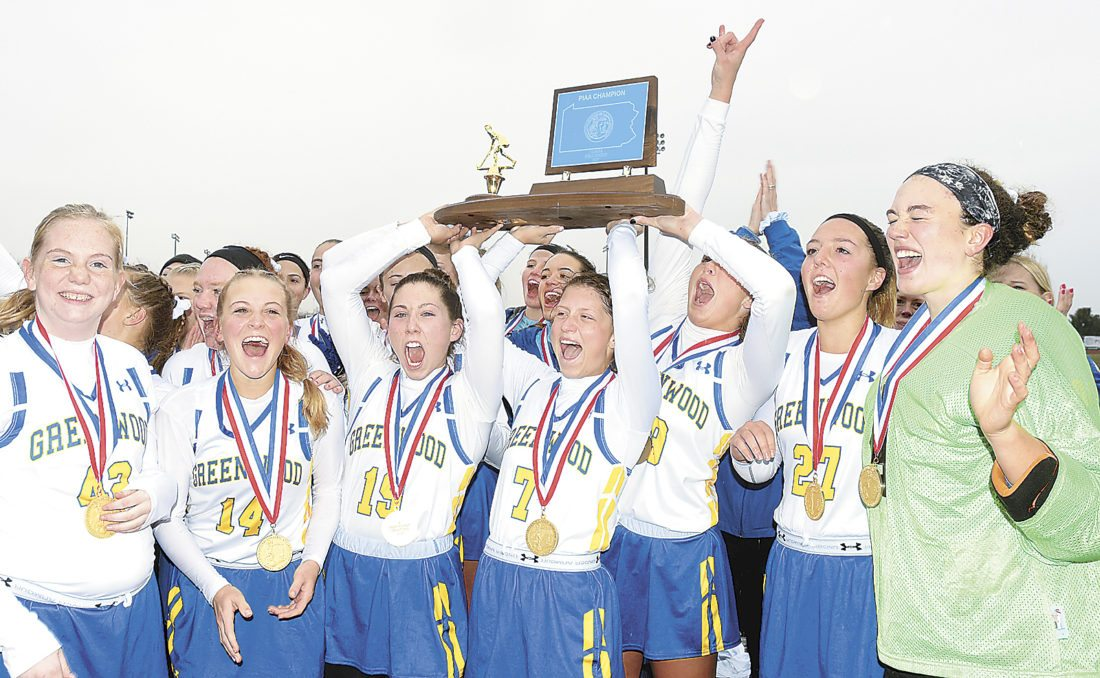 Sentinel photo by BUFFIE BOYER Members of the Greenwood High School field hockey team, from left, Grace Howell, Laura Sheaffer, Courtney Fleisher, Keira Wittle, Paityn Wirth, Grace Lesh and Kelsey Sheaffer, celebrate their PIAA Class A State Championship win Saturday against Wyoming Seminary 2-1 at Whitehall High School in Whitehall.