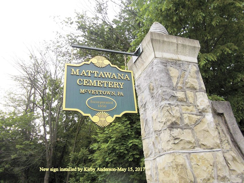 Submitted photo The entrance to Mattawana Cemetery in McVeytown.