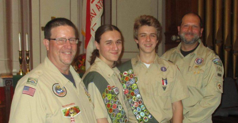 Submitted photo Participating in an Eagle Scout Court of Honor held Nov. 25 by McVeytown Boy Scout Troop 104, are, from left, Scoutmaster Mark Bonson, Eagle Scout Bennett Andrews, Eagle Scout Ethan Andrews and Assistant Scoutmaster Dennis Rager.