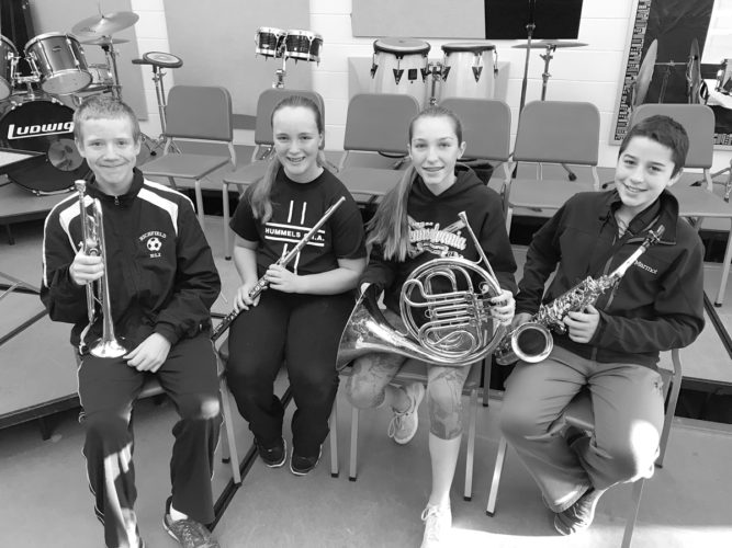 From left, Eli Kratzer, Lauryn Aucker, Lorna Oldt and Nathaniel Leitzel have been selected for Susquehanna Valley Band. These Midd-West Middle School students will travel to Warrior Run in January to participate in this annual band festival.  Photo submitted by  Erin Auman