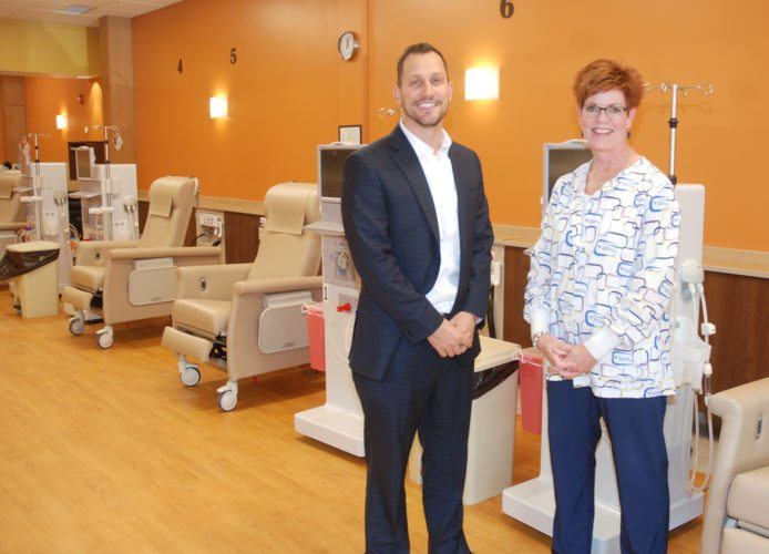 Sentinel photo by BUFFIE BOYER Chester Kirkland, left, director of operations, and Beth Bryan, clinic manager, are ready to serve the area's dialysis needs at the new Fresenius Kidney Care location at 325 W. Freedom Ave., Burnham.