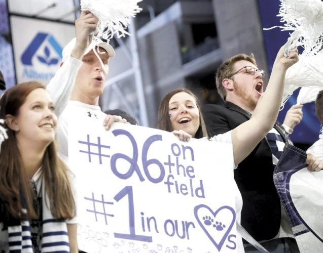 Sentinel photo by CHRISTOPHERSHANNON Penn State students cheer during the Fiesta Bowl Saturday.