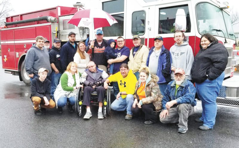 Submitted photo The Milroy Fire Co. recently went to William Penn Healthcare and Rehab to honor member Mike Wagner for 55 years of service. Many members and trucks appeared at the home for the surprise visit, including: front, from left, Christopher Russell, Jamie Russell, Mike Wagner, Brian Snook, Danielle Wray and Dale Wray; back, Howie Walter, Ron Staib, Kyle Orndorf, Adam Bailor, Carrie Wagner, Mikey Wagner, Paxton Snook, Tyler Snook, Chris Russell, Kevin Beers, Robert Melton and Nicole Wray.