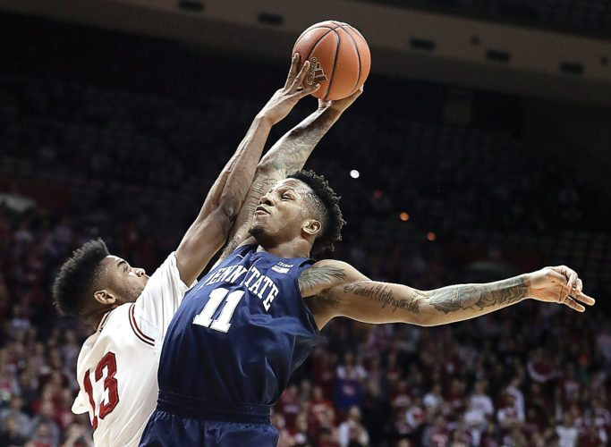 AP photo Penn State's Lamar Stevens (11) goes up for a dunk against Indiana's Juwan Morgan during the first half Tuesday in Bloomington, Ind.