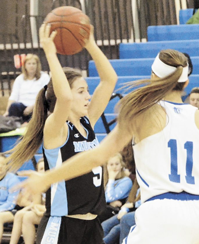 Sentinel photo by PHILMAPSTONE Midd-West's Alyssa Keister, left, looks to pass in the Mustangs' Heartland Conference basketball game at Central Mountain on Wednesday.