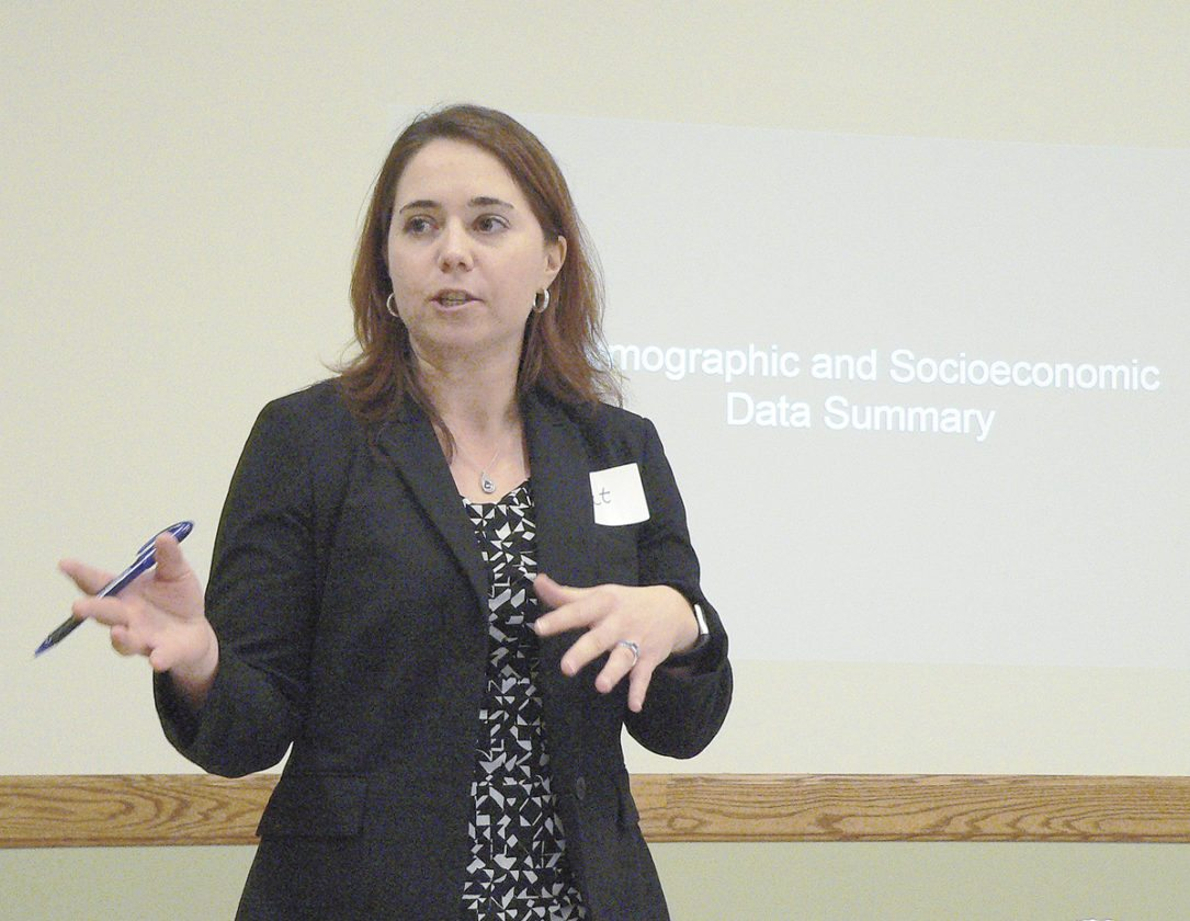 Sentinel photo by ERIN THOMPSON Catherine Birdsey, research senior at Baker Tilly, in Lancaster, discusses results of the most recent community health needs assessment in Mifflin, Juniata and Centre counties during an event held Friday at The ComPASS Center in Lewistown.