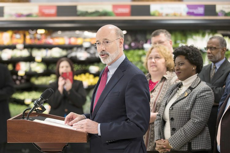 Gov. Tom Wolf speaks at a news conference at   in Philadelphia, Wednesday, Jan. 17, 2018. Democratic Gov. Tom Wolf wants to require that employers pay overtime wages to hundreds of thousands of lower-paid Pennsylvanians. (AP Photo/Matt Rourke)