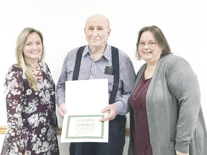 Submitted photo From left, 4-H educator Skylar Peters, 4-H volunteer Frank Bonson and program assistant Tiffany Erhard were among those recognized at the annual banquet for the Mifflin County 4-H program, held Jan. 26 at the Burnham Lions Club.