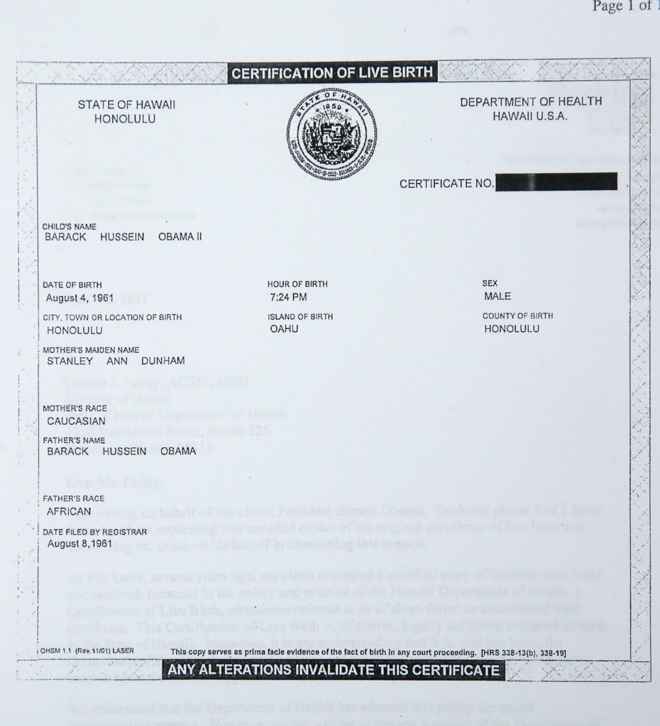 President Barack Obamas Birth Certificate Released By White House