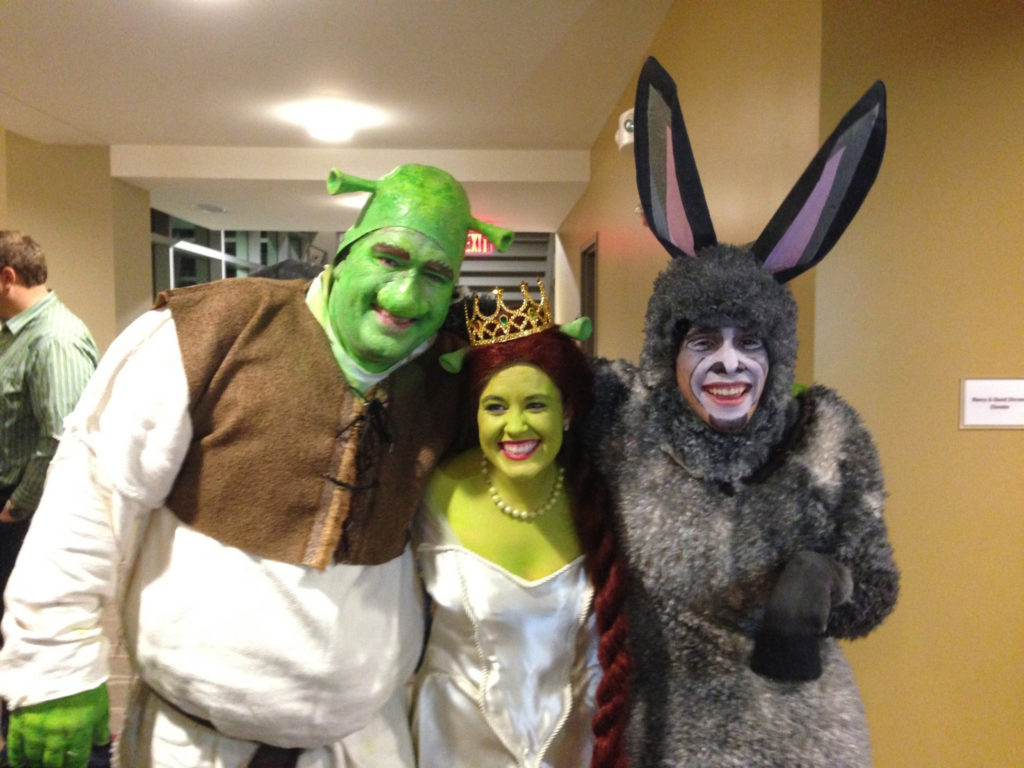 Jake Leet right in his Donkey costume with cast mates before a performance of Shrek at Theatre Lawrence.  sc 1 st  Lawrence Journal-World & Mother grateful for u0027Christmas miracleu0027 after young actor collapses ...