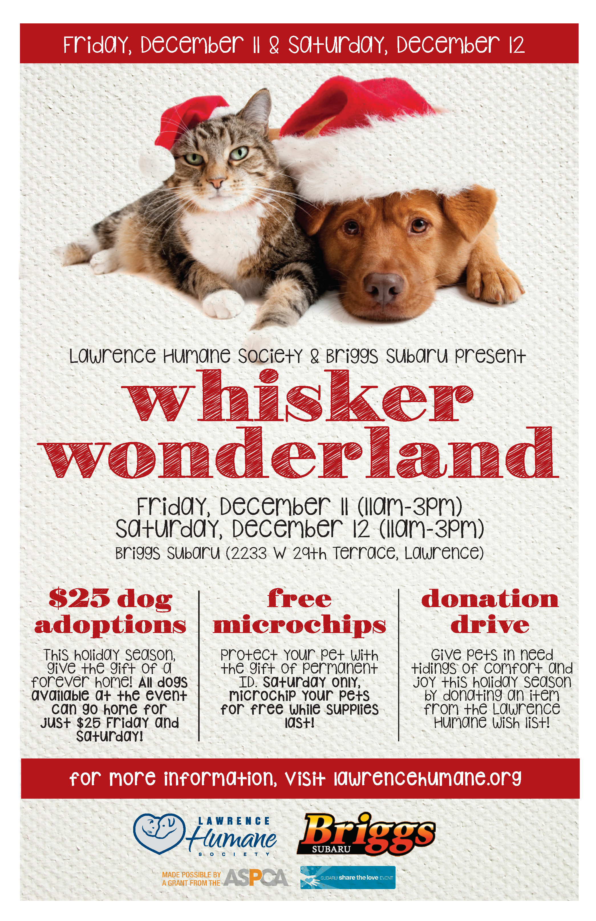 Lawrence Humane Society Briggs Subaru To Host Whisker Wonderland