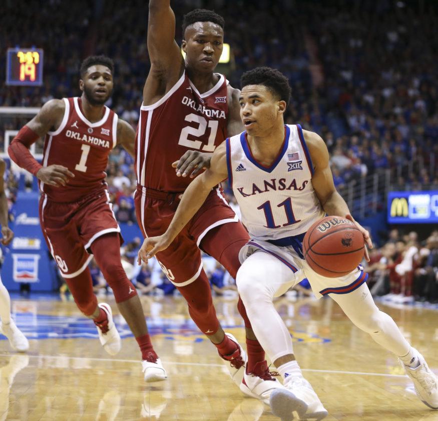 Freshmen shine as No. 5 Kansas tops No. 23 Oklahoma, 70-63