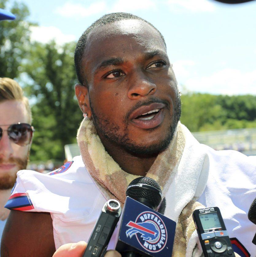 FILE - In this Aug. 1, 2015 file photo, Buffalo Bills wide receiver Percy Harvin speaks to the media during an NFL football training camp in Pittsford, N.Y. Harvin has come out of retirement to sign with the Buffalo Bills, his agent Greg Barnett says Tuesday, Nov. 1, 2016. Harvin retired in April after spending last season in Buffalo, citing numerous injuries. (AP Photo/Bill Wippert, File)