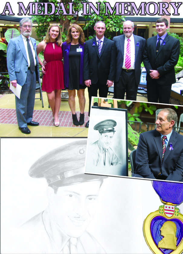 PHOTOS PROVIDED At top, at the recent Purple Heart ceremony honoring the memory of Dominic J. Raco are, from left, Susque-View chaplain Dennis Callahan, Central Mountain sophomore Cassidy Triponey, Susan Bardo, veteran Sean MacMillen who served as emcee, Dominic Raco's son Bill Raco and Central Mountain senior Dale Fye. The two students took on the ceremony as their senior project. Above right, Mark Raco sits next to the drawing of father, Dominic J. Raco.